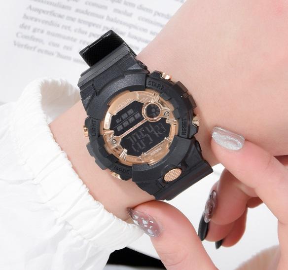 新品 AOSUN レディース&ガールズ 腕時計デジタル多機能LED 黒