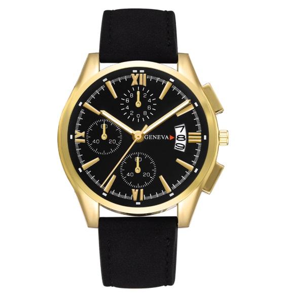 新品 送料込み デュアルタイプ 腕時計メンズ ラグジュアリー黒×ゴールド