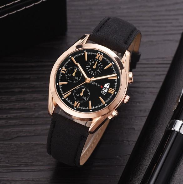 新品 送料込み デュアルタイプ 腕時計メンズ ラグジュアリー黒×Pゴールド