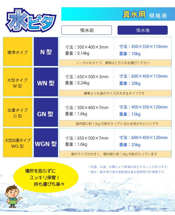 吸水土のう水ピタ 【真水用】大型加重タイプ(WGN型)15枚