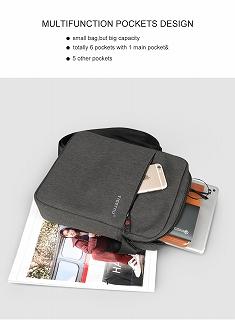 Tigernu ブランド男性防滴 ショルダー バッグ ビジネスカジュアル ブリーフケース ボディバッグ <海外お取寄品>