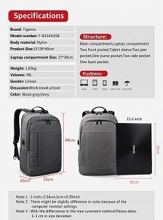 Tigernu 盗難防止 usb bagpack 15.6 17 インチ ラップトップ バックパック 男性女性 旅行 <海外お取寄品>