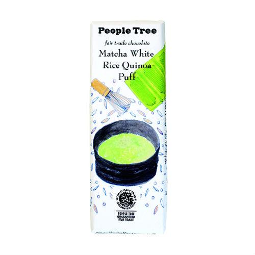【秋冬限定】People Tree フェアトレードチョコレート 抹茶ホワイト・ライスキノアパフ 50g