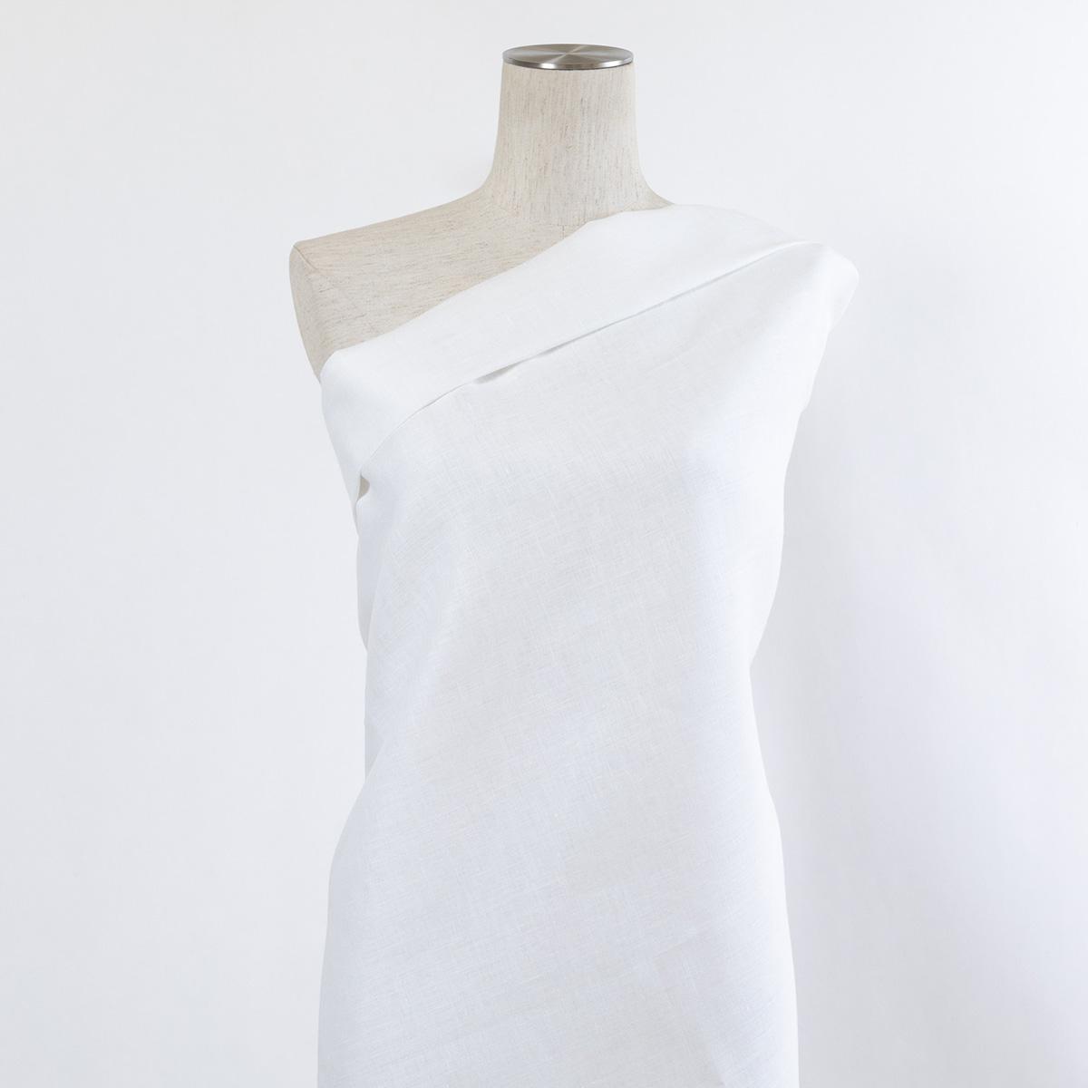 150cm巾 【 リネン 100% 生地 】 ホワイト 無地 普通地 1m単位 R0040 <旧品番 W-040> 【シーツ、ブラウス、チュニックなどに最適】