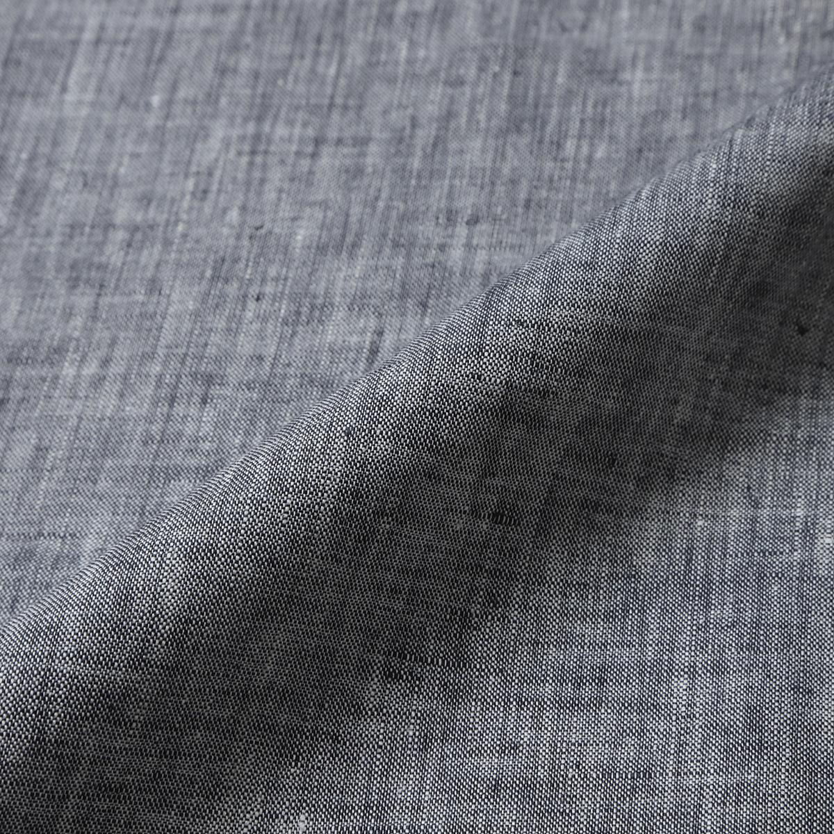 150cm幅 リネン100%生地 ブラック×ホワイト シャンブレー 薄地 1m単位 R0020-207