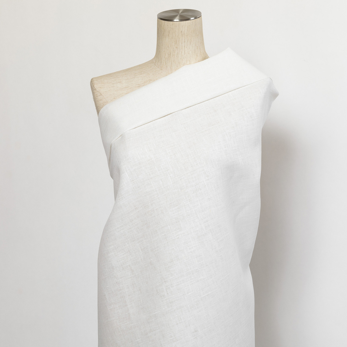 220cm巾 【 リネン 100%生地】 ホワイト 無地 中厚地 1m単位 R1797 <旧品番 W-7971> 【ワンピース、スカート、シーツ、カーテンに最適】