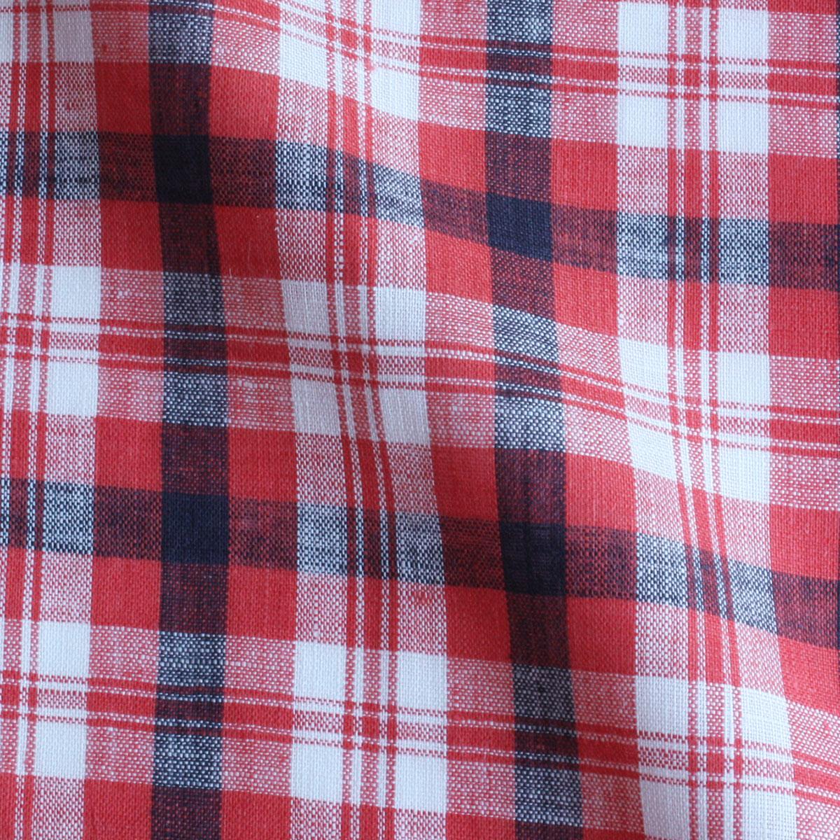 Cadeauya【リネン100% ハンカチ】リネンハンカチ チェック45 レッド×ネイビー 45×45cm平織り 男女兼用