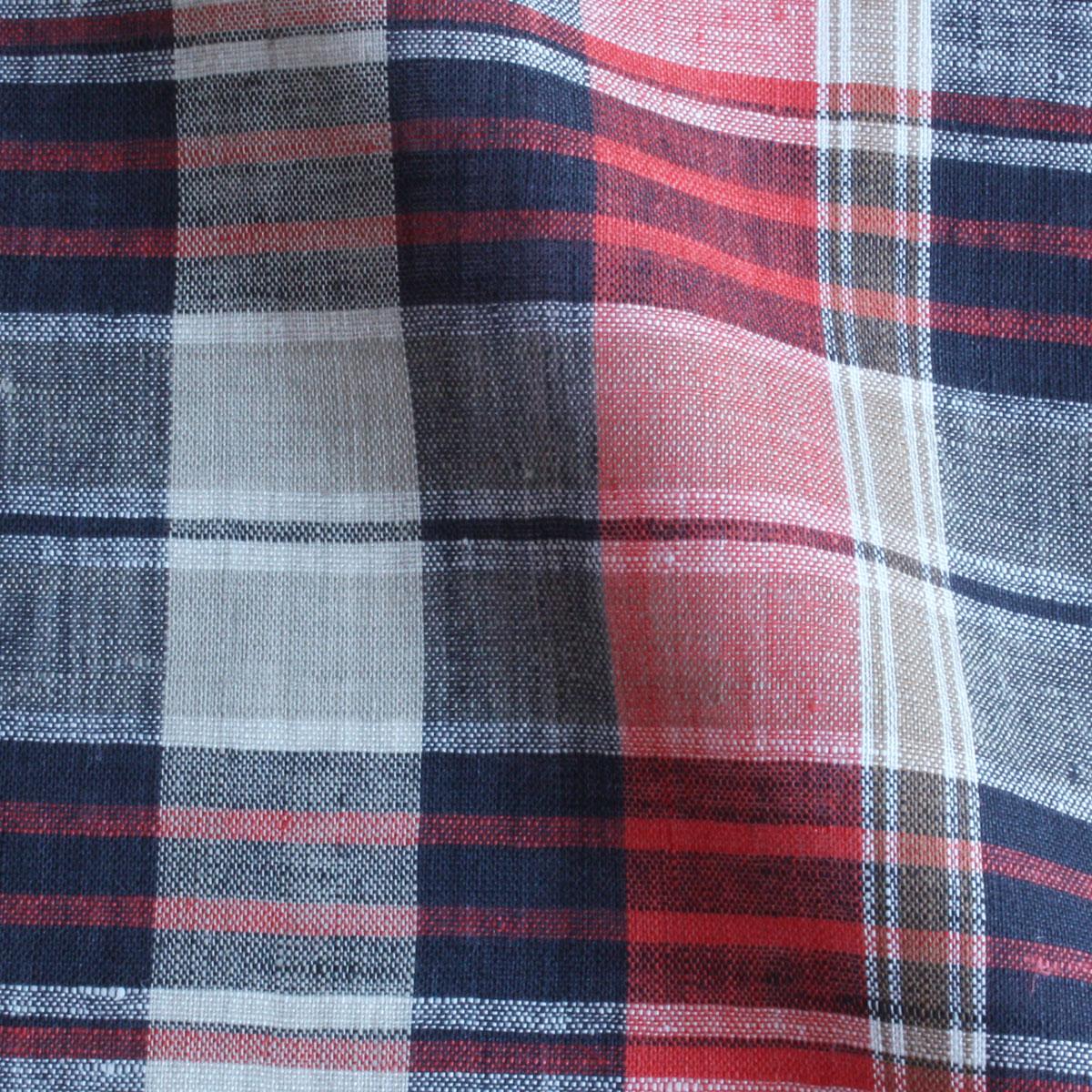 Cadeauya【リネン100% ハンカチ】リネンハンカチ チェック45 ブラウン×レッド 45×45cm 平織り 男女兼用