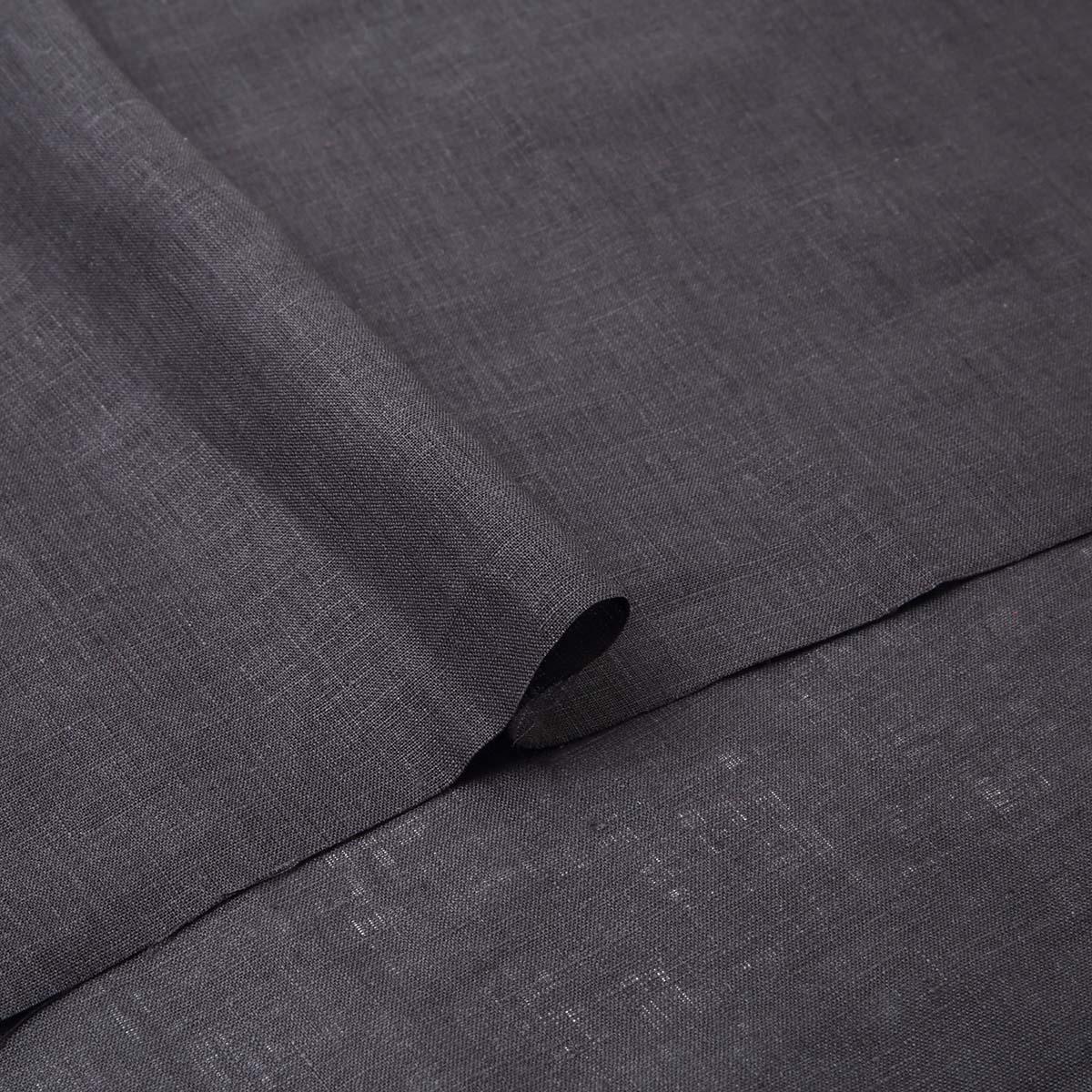 150cm巾【 リネン 100%生地 】 ブラック 薄地 1m単位 R0078-209【シャツ、スカート、ワンピースに最適】