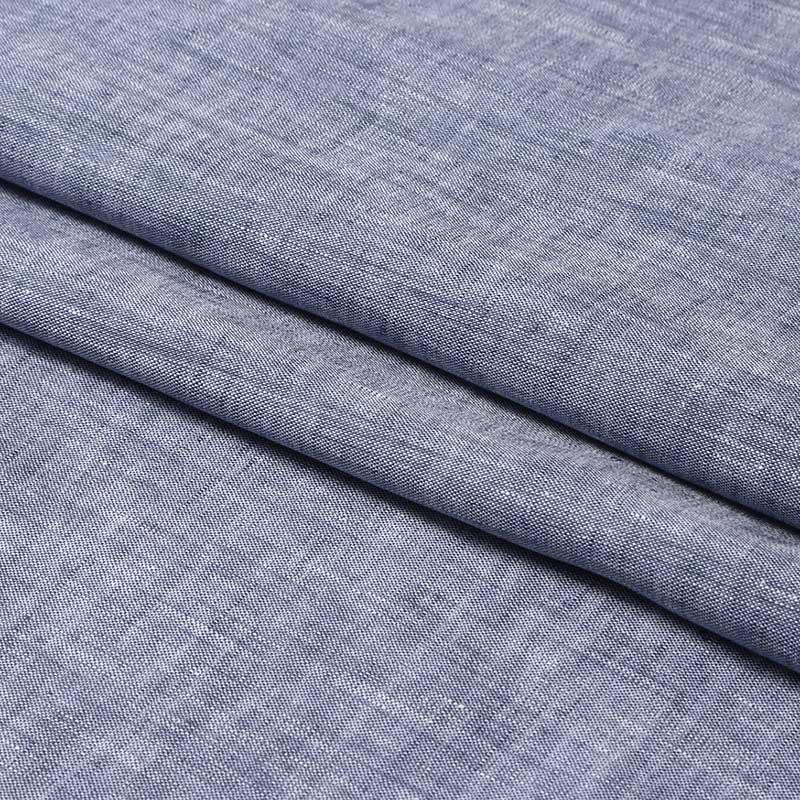 150cm巾 【 リネン 100% 生地 】 水色ホワイト シャンブレー 薄地 1m単位 R0020-225【ブラウス、チュニック、ボトムスに最適】