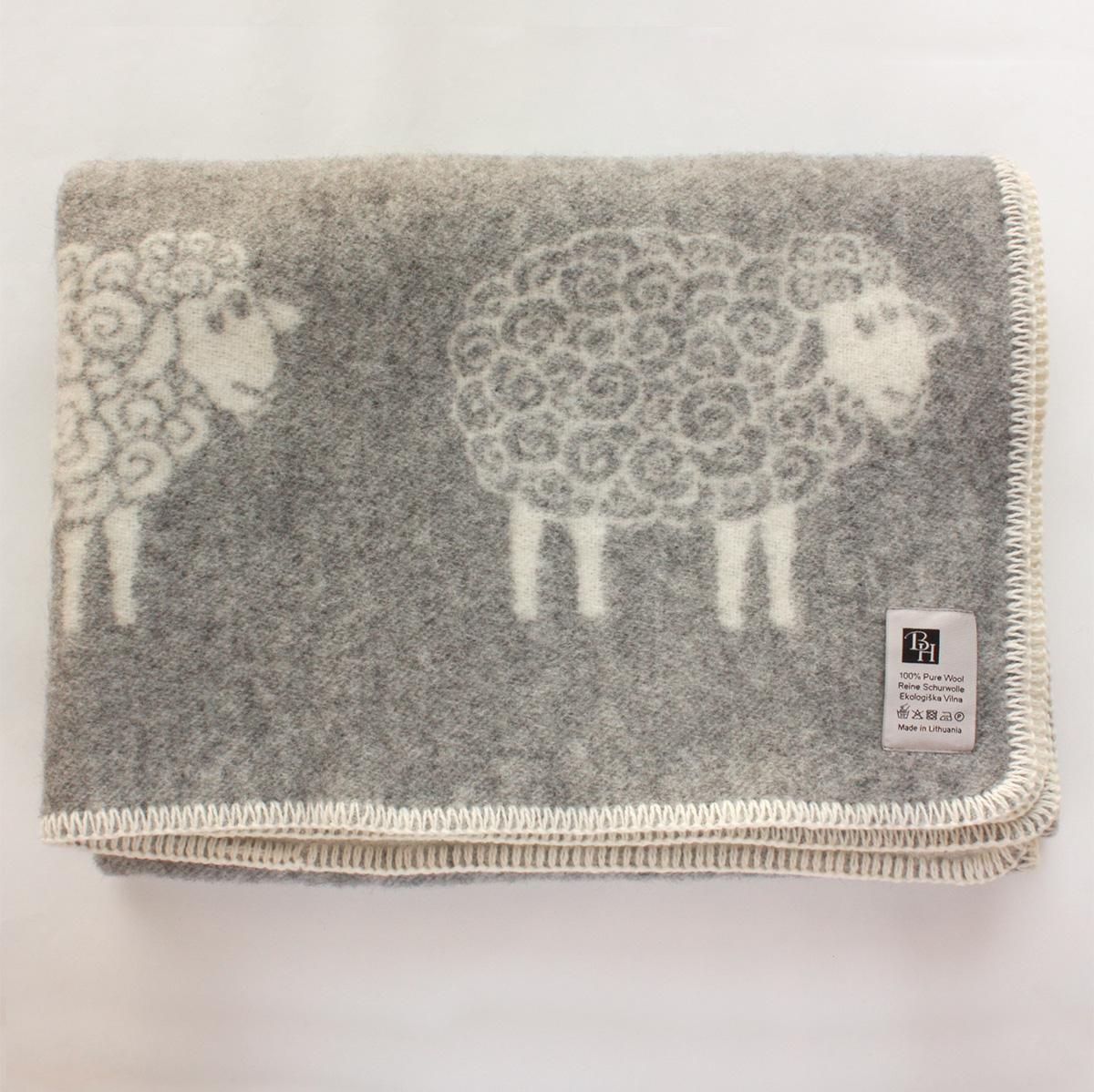 BARKER HOME 【ウールひざ掛け ハーフケット】Sheep beta グレー 北欧 リトアニア製