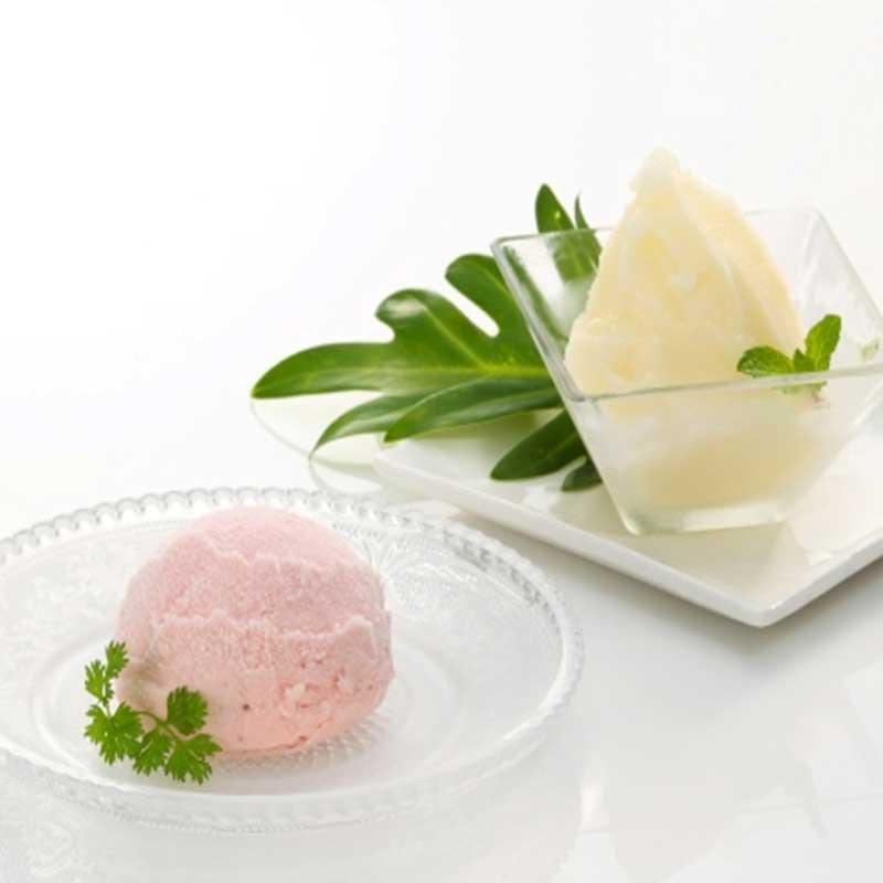 【産地直送/送料込】 〈セイヒョー〉ル レクチェシャーベット&越後姫アイスクリーム詰合せ