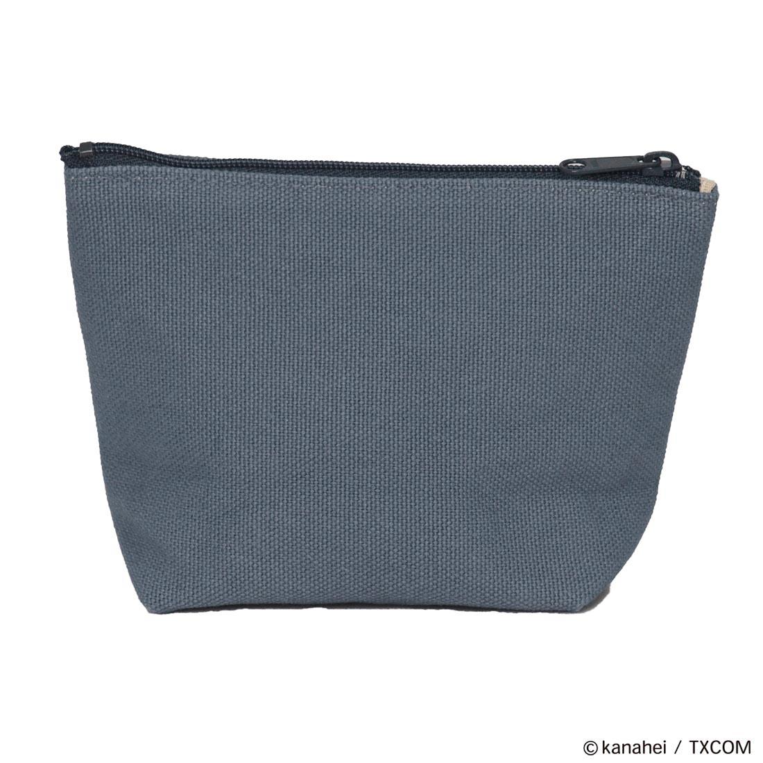 ピスケとうさぎ 相良(サガラ)刺繍ワッペン付き倉敷帆布ポーチ アッシュグレー