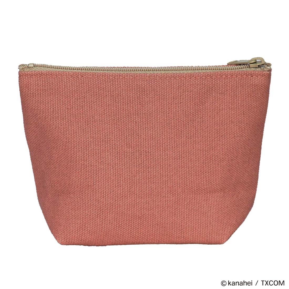ピスケとうさぎ 相良(サガラ)刺繍ワッペン付き倉敷帆布ポーチ コーラルピンク
