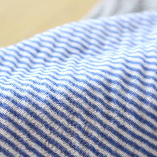 R&D.M.Co- オールドマンズテーラー シングルガーゼハイネックシャツ(ホワイトxブルー)