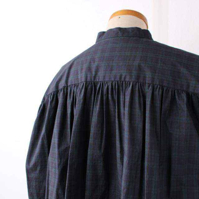 R&D.M.Co- オールドマンズテーラー 先染めチェックスタンドカラーロングシャツ