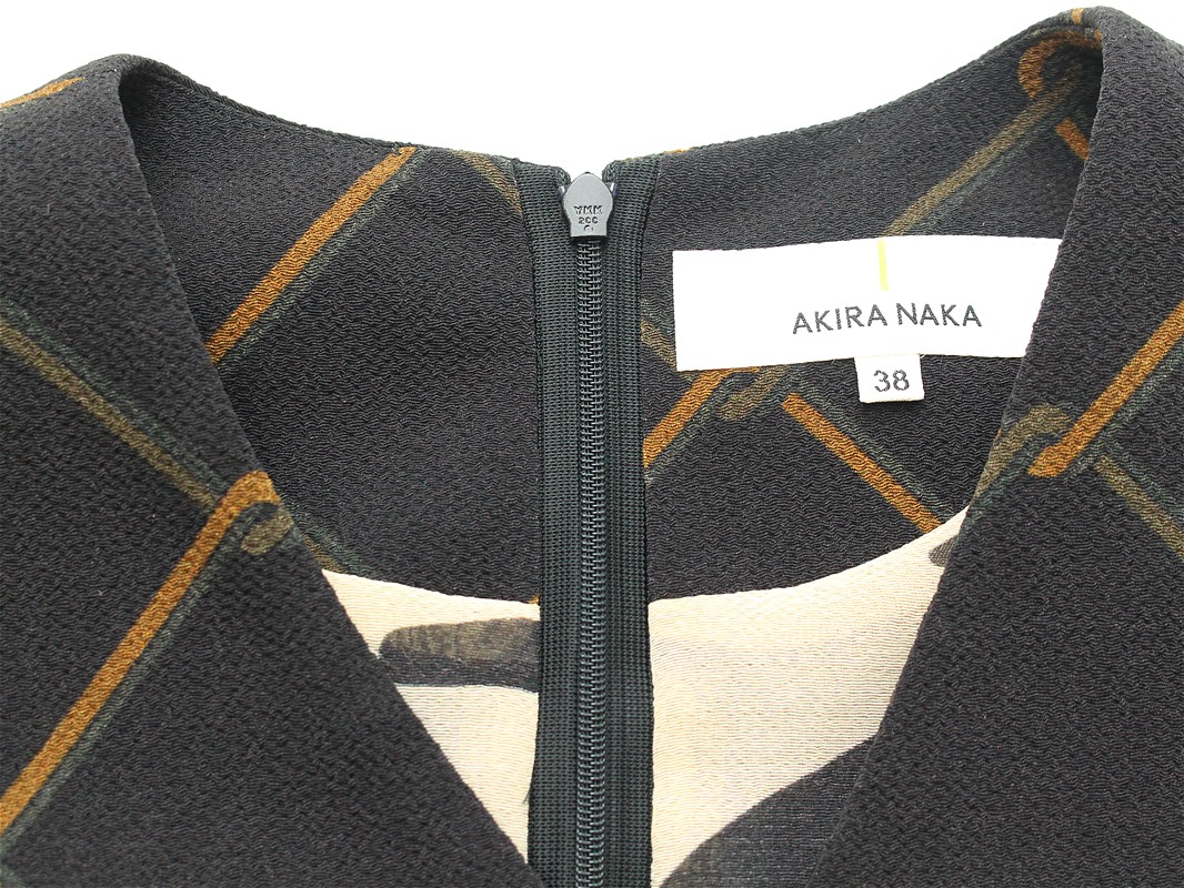 50%off SALE! セール AKIRA NAKA アキラナカ シフォンレイヤードワンピース (鎖柄)ブラック(AR1722BK)