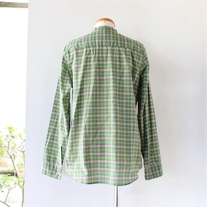 R&D.M.Co- オールドマンズテーラー コットンシルクバンドカラーシャツ