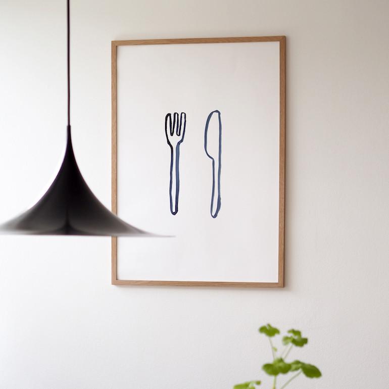 Silke Bonde 「Lunch/ランチ」 50x70 アートポスター 北欧 デンマーク