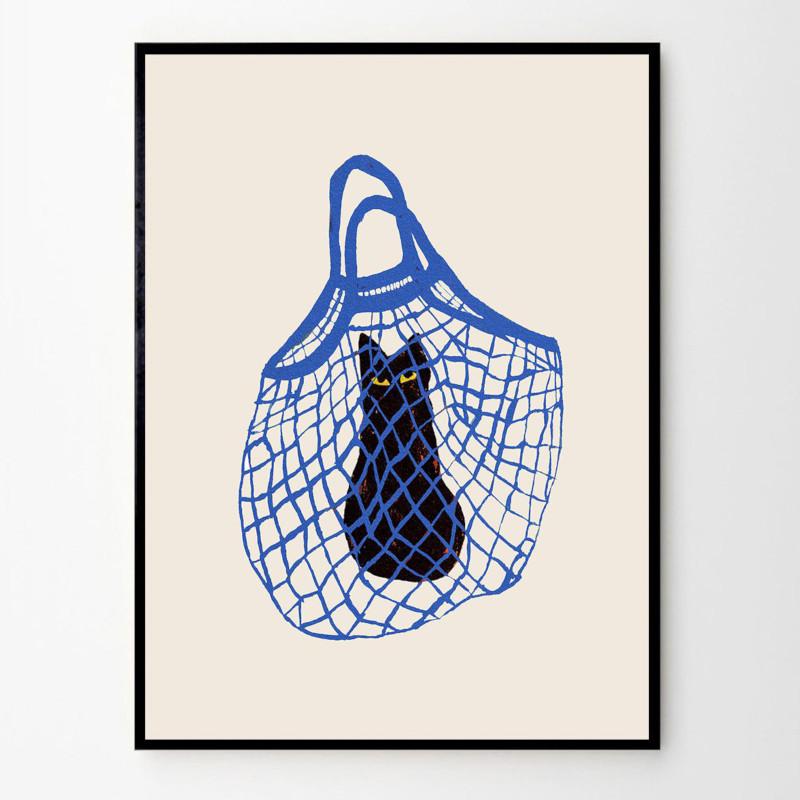 THE POSTER CLUB バッグに入った猫 40x50cm アートポスター 北欧 デンマーク