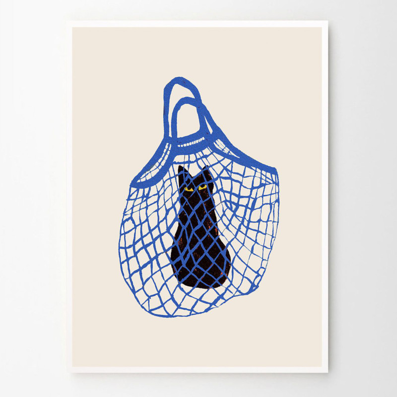 THE POSTER CLUB バッグに入った猫 30x40cm アートポスター 北欧 デンマーク