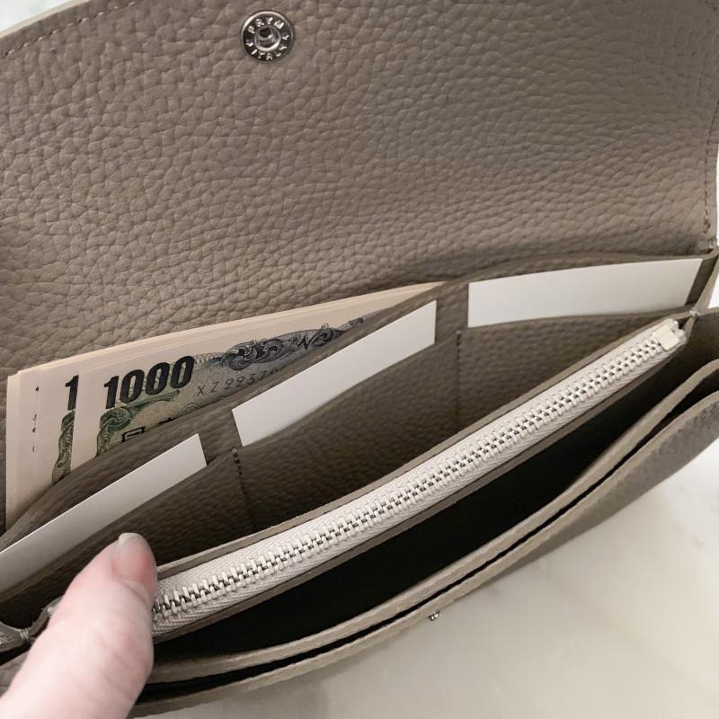 STUDIO LA CAUSE シュリンクレザー 内縫いフラップ 財布 L ネイビー 日本製