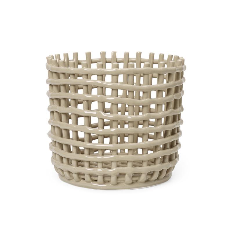 ferm LIVING セラミックバスケット L カシミア ベージュ 小物入れ 鉢カバー ファームリビング 北欧 デンマーク