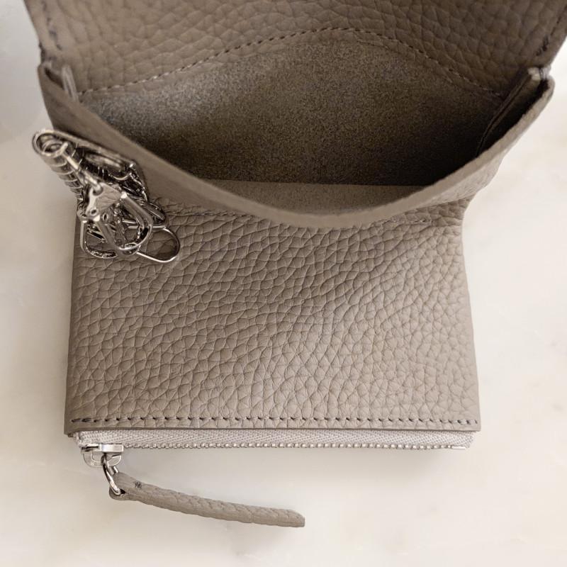 STUDIO LA CAUSE シュリンクレザー 内縫いフラップ キーケース/ミニ財布 ネイビー 日本製