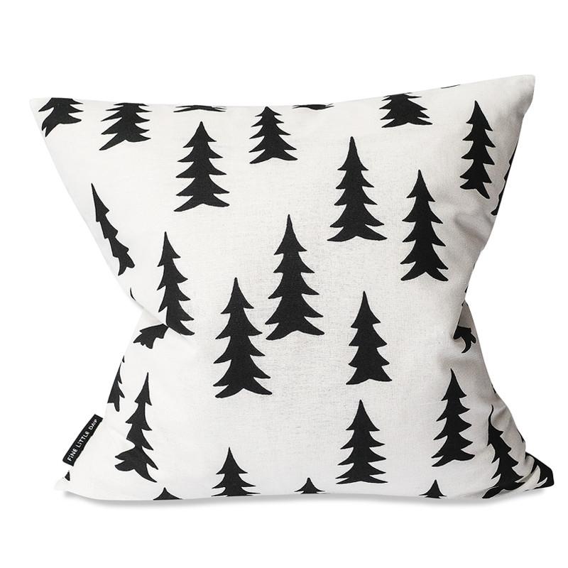 【麻50% 】Fine Little Day モミの木柄 クッションカバー ブラック&ホワイト ファインリトルデイ 北欧 スウェーデン【ネコポスOK】