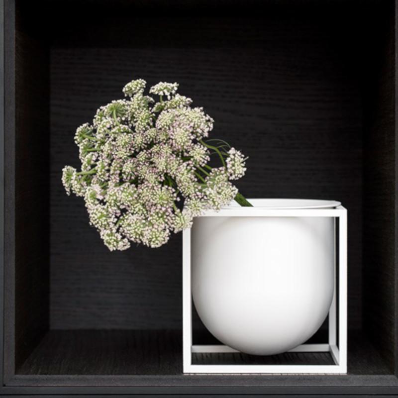 by Lassen Kubus フラワーポット 14cm ホワイト 植木鉢カバー 北欧 デンマーク