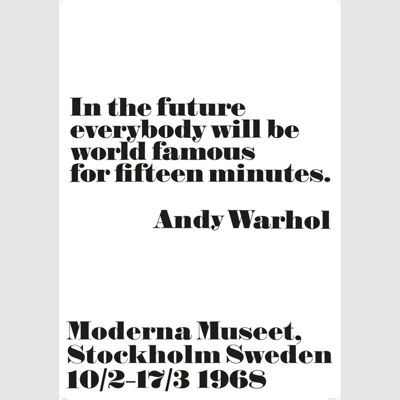 1968 アンディ・ウォーホル展 ポスター In the future... 70x100cm 北欧 スウェーデン