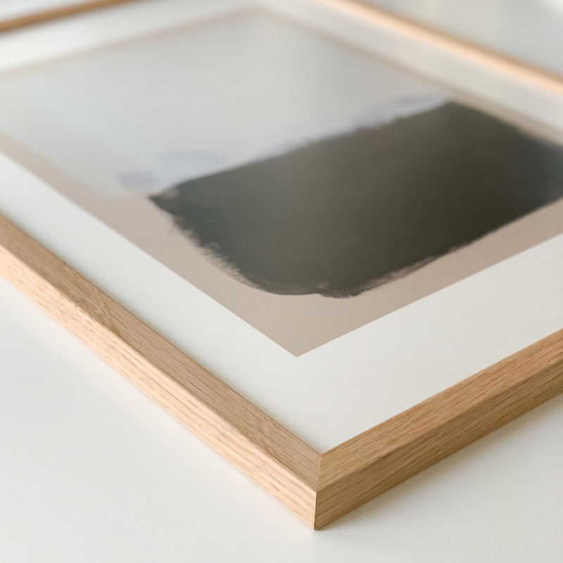50x70cm「オーク無垢材」映り込みが少ない!イタリア製フレーム(前面:アクリル板)
