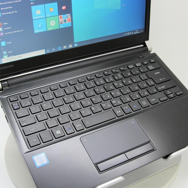 【美品】TOSHIBA dynabook R73/D Windows 10 Pro(64bit) Core i3 6100U (2.3GHz/DualCore/3MB) メモリ 8GB (4GB×2) 500GB HDD 13.3インチ