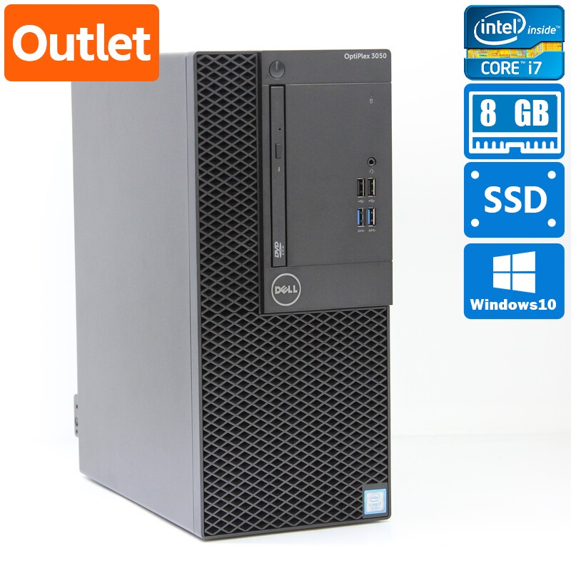 【Outlet】Dell OptiPlex 3050 MT Windows 10 Pro(64bit) Core i7 7700 (3.6GHz/QuadCore/8MB) メモリ 8GB 512GB SSD