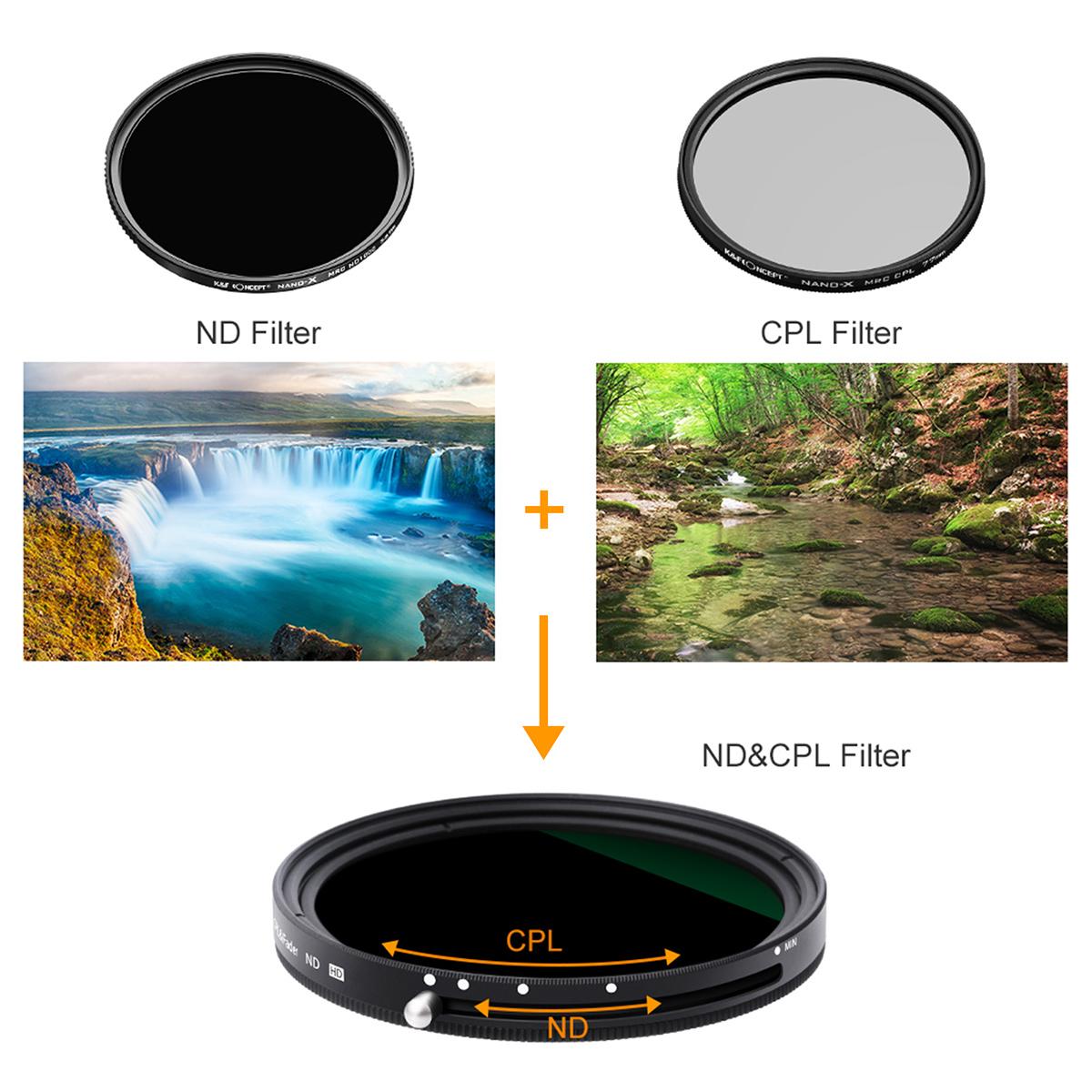 K&F Concept バリアブルND + C-PL 多機能フィルター NANO-X 2IN1シリーズ