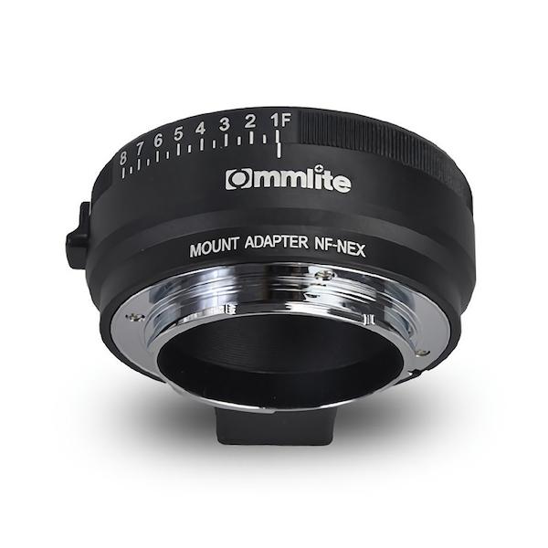 Commlite CM-NF-NEX マウントアダプター(ニコンFマウントレンズ → ソニーEマウント変換)絞りリング付き