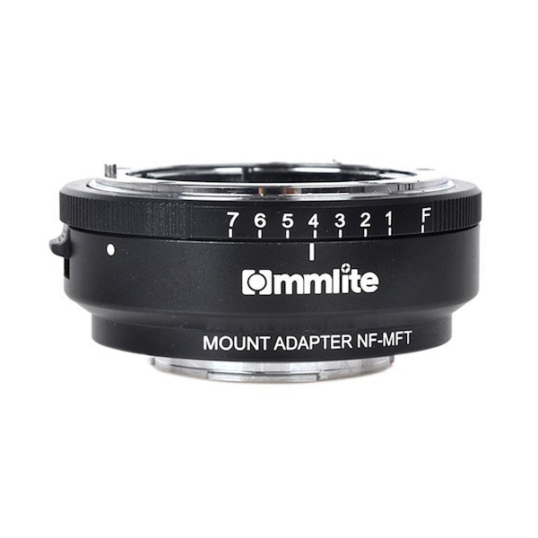 Commlite CM-NF-MFT マウントアダプター(ニコンFマウントレンズ → マイクロフォーサーズマウント変換)絞りリング付き
