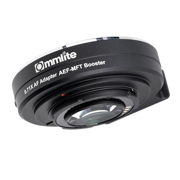 Commlite CM-AEF-MFT Booster フォーカルレデューサーマウントアダプター(キヤノンEFマウントレンズ → マイクロフォーサーズマウント変換)電子接点付き