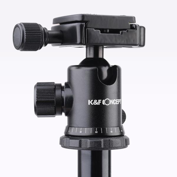 K&F Concept アルミニウム三脚4段(三脚・一脚兼用)KF-TM2324 II ブラック