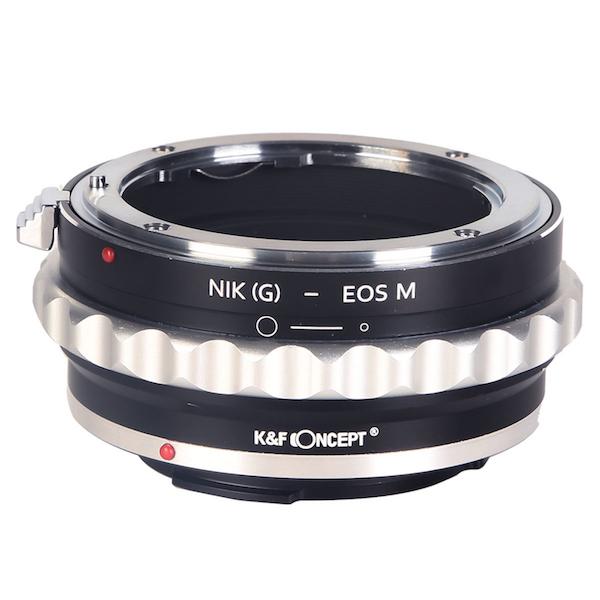 K&F Concept レンズマウントアダプター KF-NGEM (ニコンFマウント(Gタイプ対応)レンズ → キャノンEF-Mマウント変換)