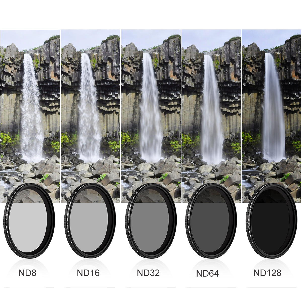 K&F Concept NANO-X バリアブル(可変式)NDフィルター Xムラ制御タイプ 減光範囲 ND8 - ND128 KF-NDX8-128