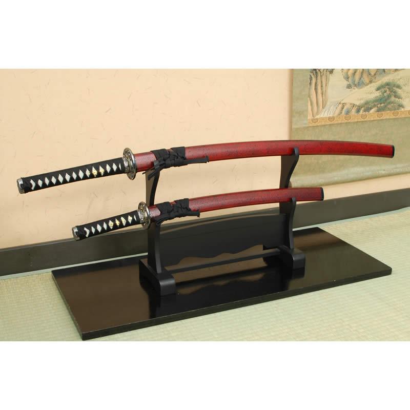 KAT-267 模造刀/坂本龍馬 赤石目拵え 大小・刀掛台セット