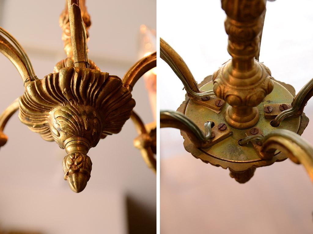 イギリス 5灯ゴールドシャンデリア