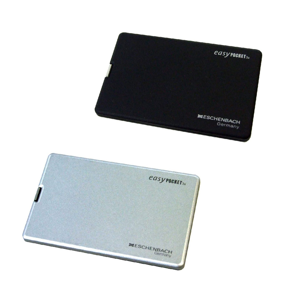 ESCHENBACH  easy POCKET 3倍 ブラック/シルバー  LEDライト付きカード型ルーペ