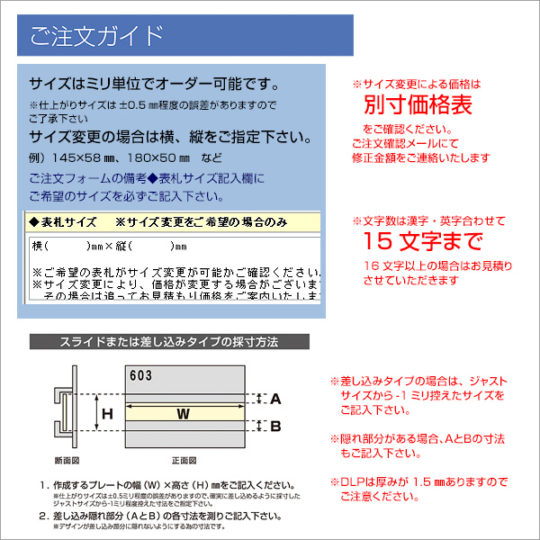 表札 ステンレス 【120×70mm】 ステンレスのマンションプレートDLP-PL-201