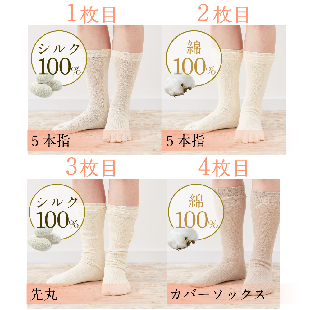 4枚重ね冷えとり靴下 絹シルク100%×綿コットン100% SILK DE KYOTOオリジナル