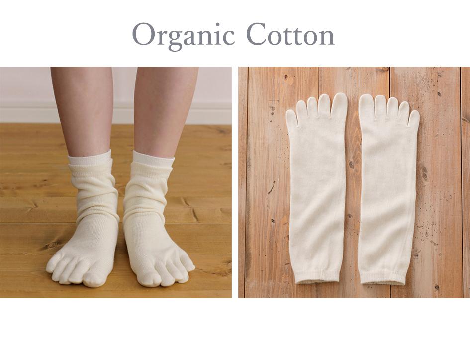 オーガニックコットン100%5本指靴下