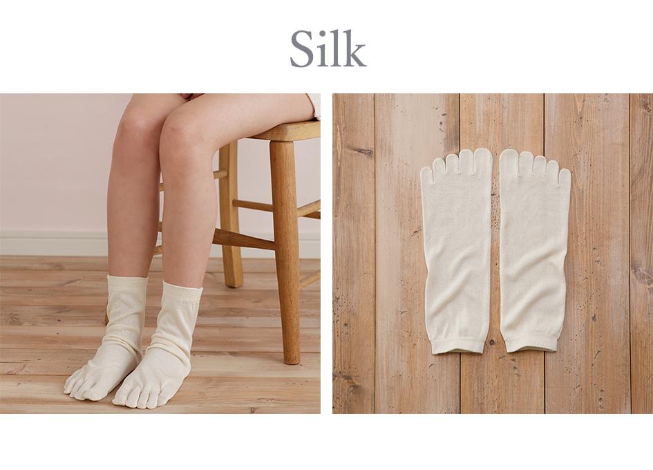 絹100%5本指靴下