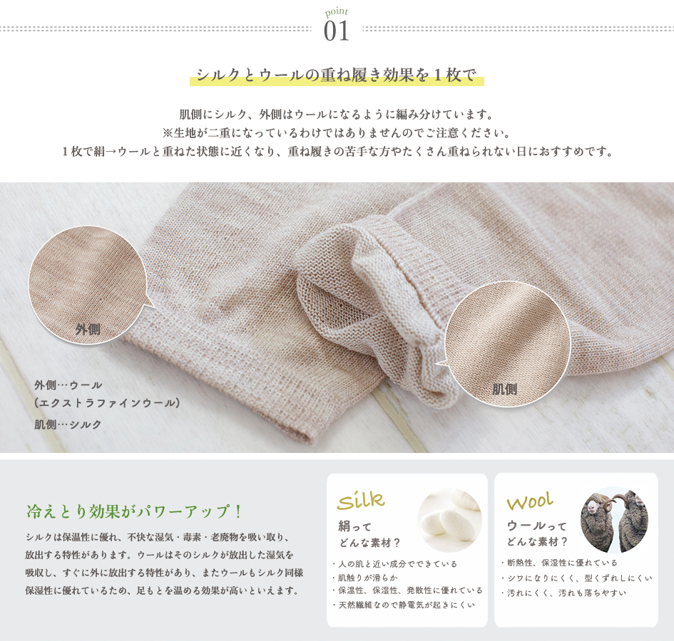 絹ウール5本指靴下