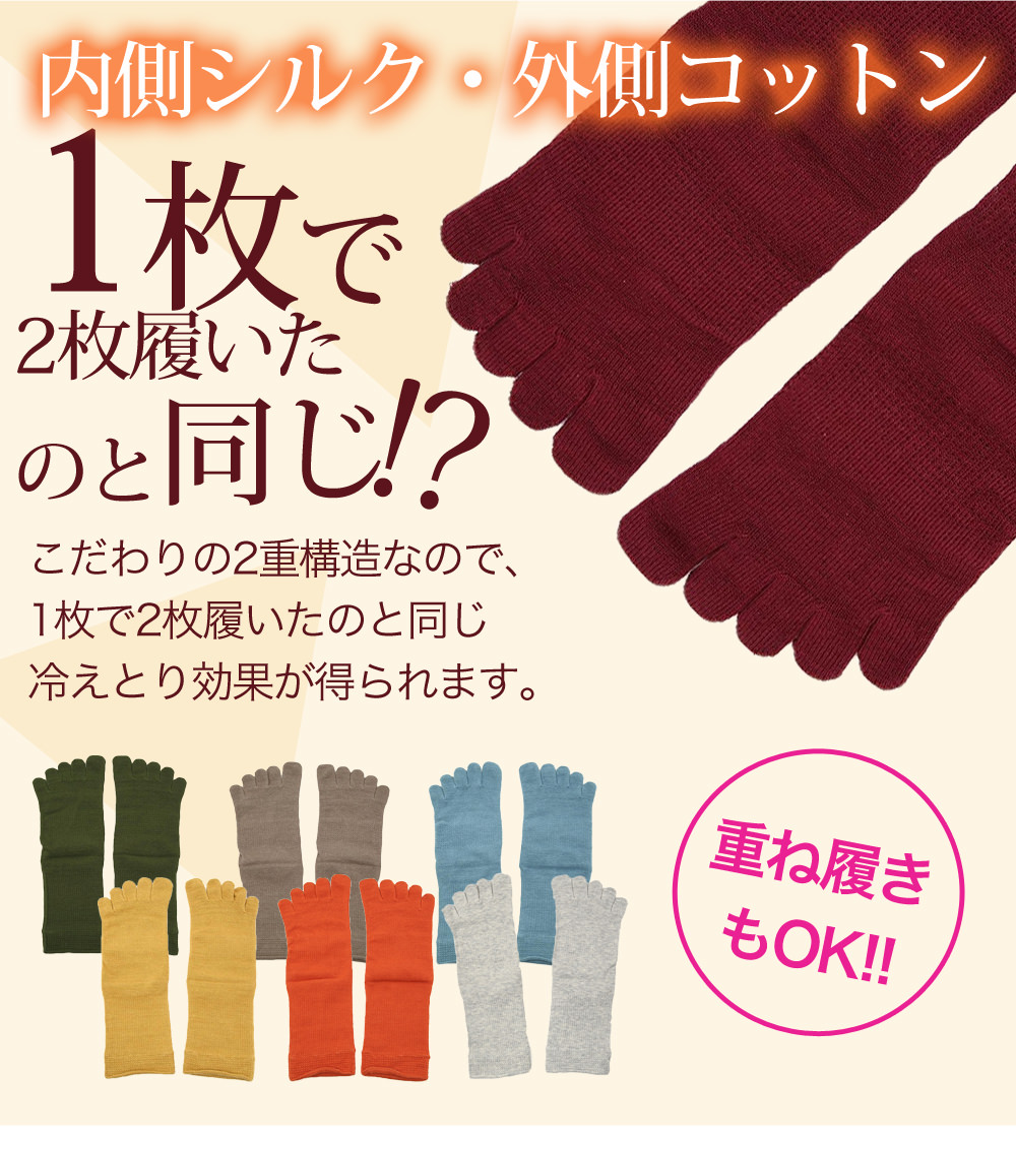 冷え取り靴下 絹木綿5本指